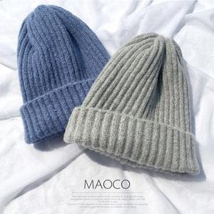 毛线帽子女潮百搭简约针织帽保暖韩版软妹帽子纯色青年学生套头帽