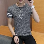 打底衫 卫衣绣印花圆领 修身 男士 t恤薄青少年学生韩版 夏季短袖 2件装