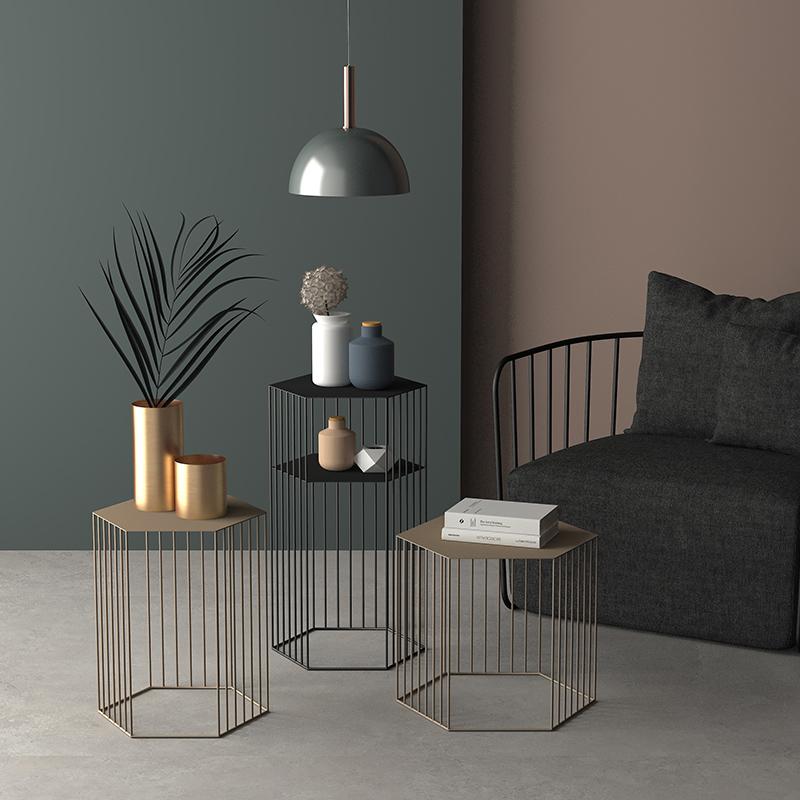 北欧客厅铁艺茶几几何时尚角几创意大小户型桌子简约现代沙发边几