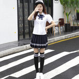 College wind sailor suit summer short-sleeved shirt Japanese JK uniforms class service uniforms pleated skirt suit costumes