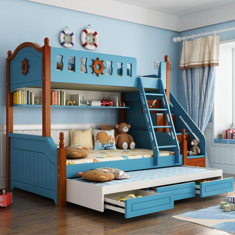 地中海双层床高低床上下床子母床上下铺美式储物高箱多功能组合床