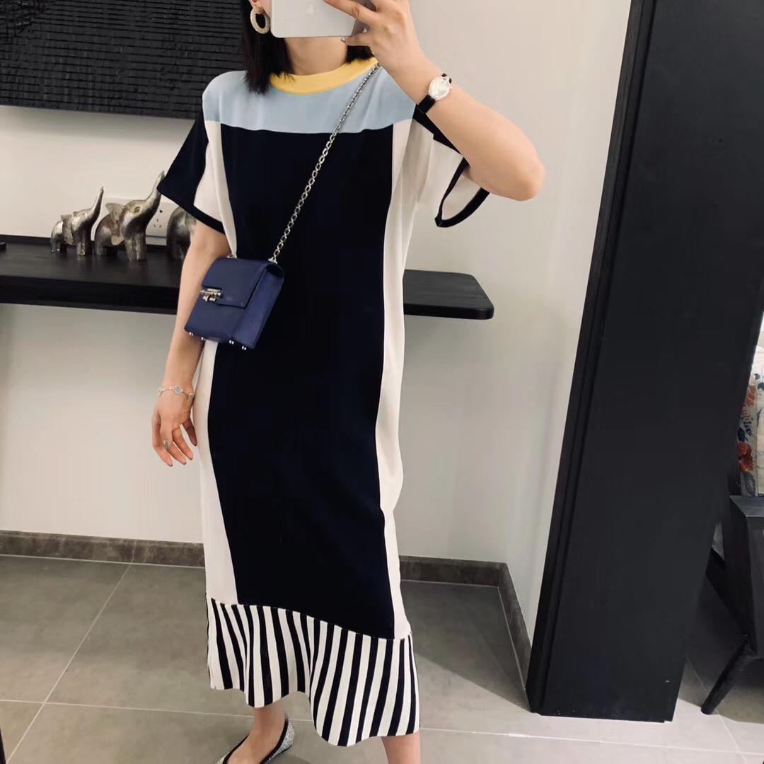 19春夏新款法式优雅撞色条纹拼接冰丝针织连衣裙复古宽松时髦长裙