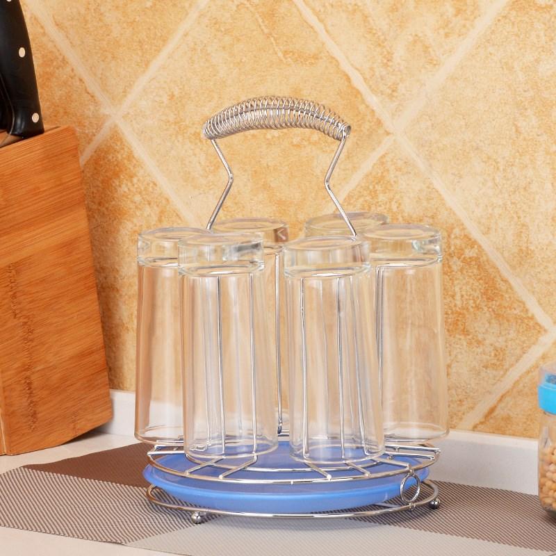 水杯架沥水家用酒杯挂架茶杯托盘晾6个创意茶道玻璃置物架