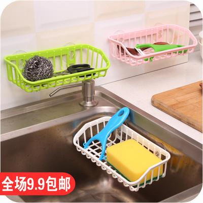 双吸盘厨房沥水置物架 水槽多功能洗碗海绵收纳架海绵餐具储物架
