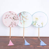 Girls Chinese style wooden handle Hanfu fan performance group fan dance photo fan