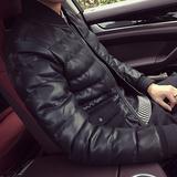 冬季韩版男士帅气呢料短款加厚PU皮棉衣加厚外套棉袄棉褂子棒球领