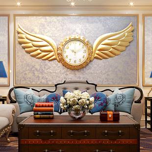 恋妆天使之翼挂钟欧式客厅钟表家用大挂表石英钟静音时钟装饰钟