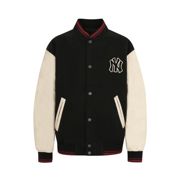 韩国代购MLB 19秋男女休闲拼色拼接棒球领保暖棉衣外套 31JP02941