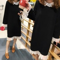 大码女装2017秋冬新款微胖妹妹中长款打底裙200斤胖MM连衣裙蕾丝