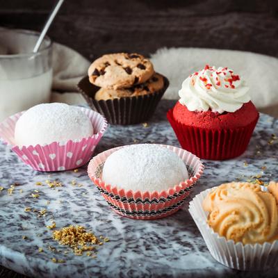 雪媚娘纸托纯色粉色圆点红色曲奇饼干蛋糕纸垫烘焙防油纸托纸杯
