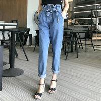 新款系带女士牛仔裤韩版高腰花苞裤ins超火的裤子宽松学生哈伦裤