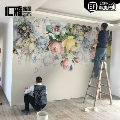 定制壁纸卧室电视背景墙壁画客厅墙纸田园影视墙沙发背景墙布花卉专卖店