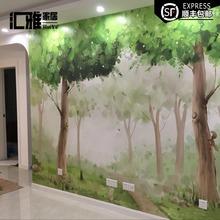 定制森林系清新墙纸电视背景墙无缝壁纸卧室大型壁画简约手绘墙布