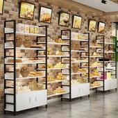 面包展示柜中岛柜糕点烘焙店蛋糕货架展示架陈列架面包柜边柜多层