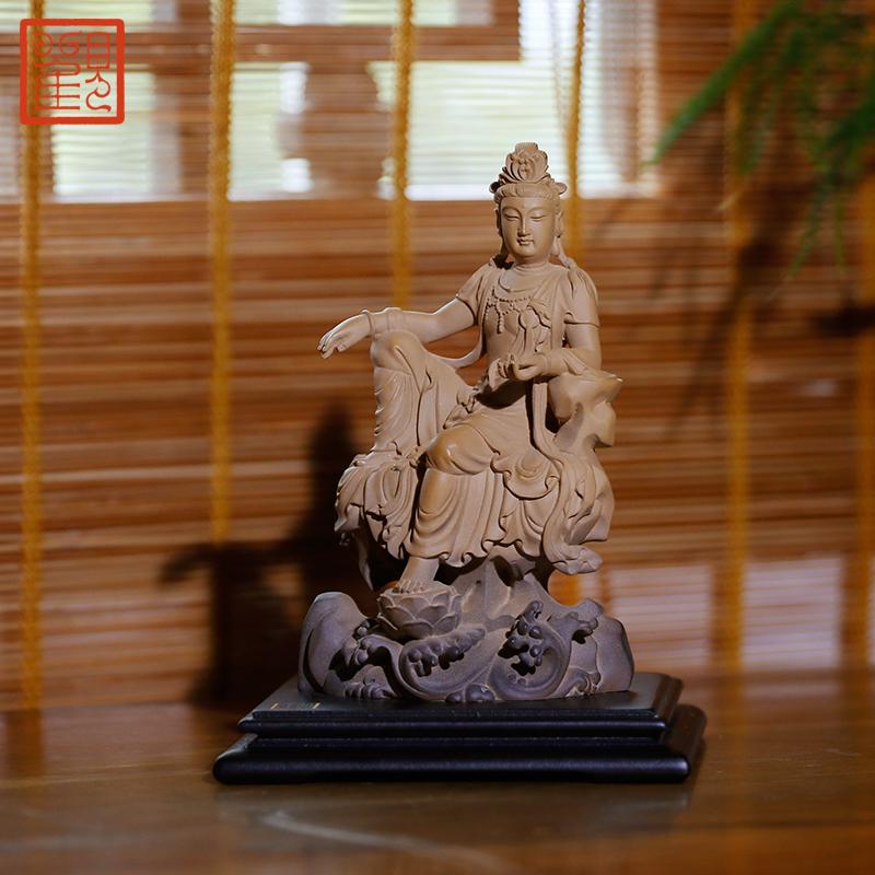 观复博物馆坐观音特色石雕镇宅辟邪保平安铁丸石摆件观音佛像菩萨