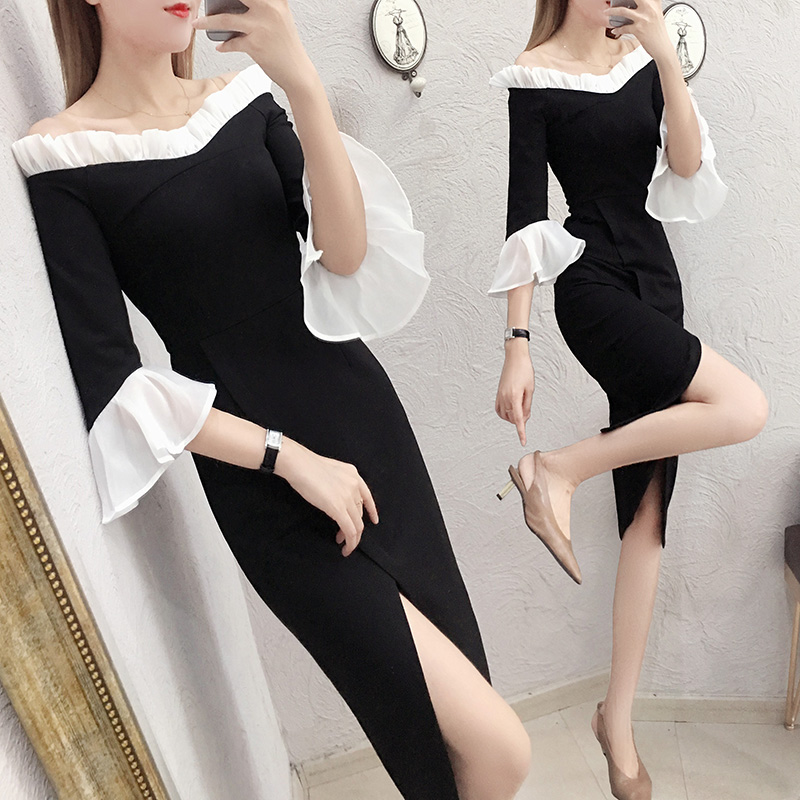 One-shoulder dress female long section 2018 autumn and winter new Korean version of the split waist