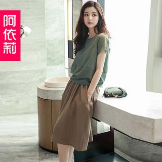 休闲棉麻连衣裙2019夏季新款女装显瘦洋气时尚亚麻套装两件套裙子