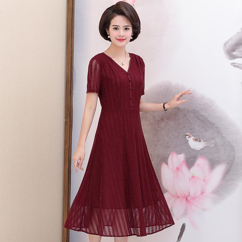 妈妈装夏装连衣裙过膝显瘦2018新款中年妇女时尚纯色裙子40-50岁