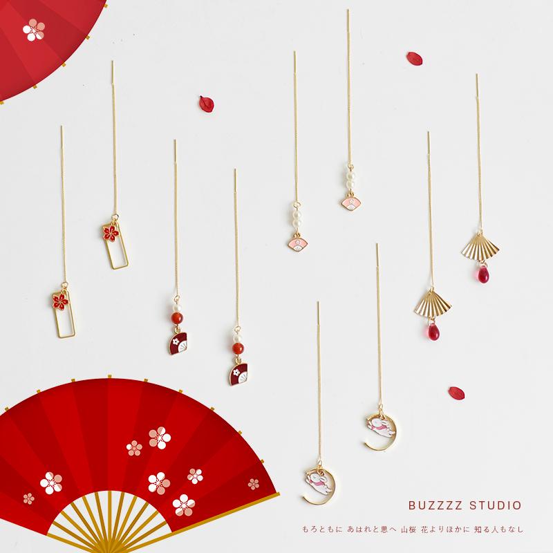 和风日式樱花耳线可爱ins少女心网红百搭简约气质长款耳环耳钉女