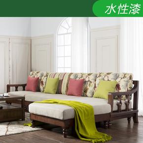 美式乡村全实木转角沙发组合 布艺拆洗简美L型贵妃小美式三人复古
