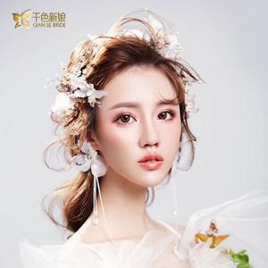 千色新娘婚纱头饰新娘超仙甜美发箍耳环2018新款韩式结婚发饰沐桐