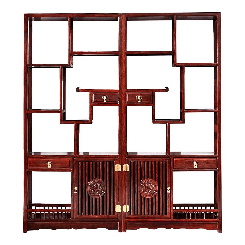 红木博古架酸枝木 客厅书房书架 实木新中式博古架多宝阁架子家具