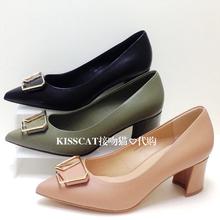 KISSCAT接吻猫2018秋款专柜正品粗高跟尖头牛皮女单鞋KA98515-11