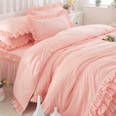床单纯色公主风素欧式纯白色蕾丝花边四件套全棉被套简约床品
