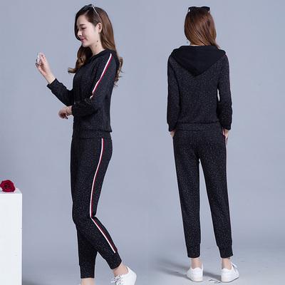 2018春秋新款套头运动服女针织两件套韩版时尚连帽卫衣波点套装潮