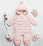 Baby down jacket jumpsuit winter warm male newborn female baby thickening children's clothes out climbing romper