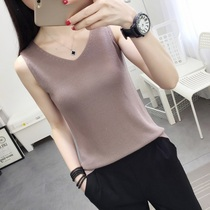 Ice Wire sling small refreshing top summer wear sleeveless knitted vest female inside take loose big code thin bottom shirt