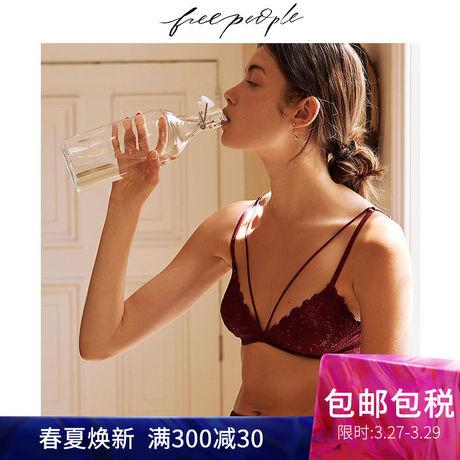 雎晓雯同款Free People V型舒适文胸 系带三角蕾丝新款内衣商品大图