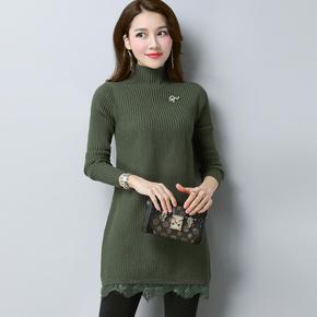 中长款半高领蕾丝下摆套头毛衣裙女韩版宽松加厚秋冬打底针织毛衫