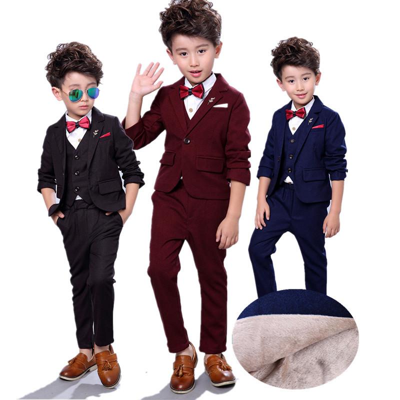 西装外套三件套马甲英伦风小学生礼服中童秋装男童西服套装