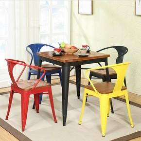 铁艺餐桌餐椅简约休闲奶茶店咖啡厅小吃店桌椅组合4人经济型实木