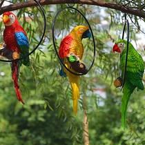Iron Circle Parrot Pendant Garden courtyard horticultural design wedding decorations resin Crafts Tree pendant Gifts
