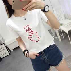 女式T恤短袖2018韩版夏季新品T恤比心图案印花宽松短袖t恤女