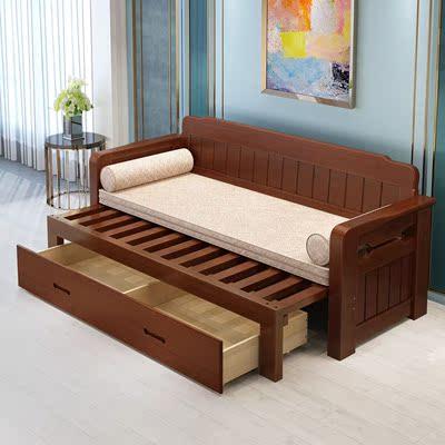 實木沙發床 可折疊小戶型多功能1.5米推拉坐臥兩用客廳皮沙發定制正品折扣