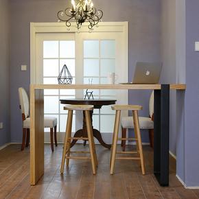 美式靠墙吧台桌原木铁艺酒吧长条高脚桌实木家庭吧台餐桌椅小吧桌