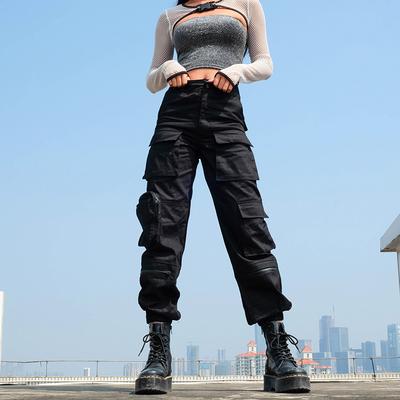 欧洲站多口袋酷炫工装裤女 重工战术服基础宽松百搭长裤街头潮流