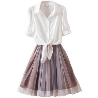 气质淑女连衣裙夏裙子套装夏季2019新款女装潮韩版显瘦时尚两件套