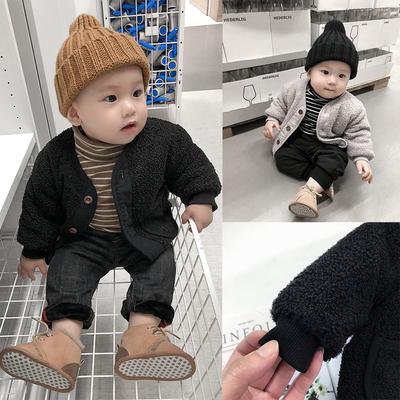 霖霖家婴童装 男婴儿外套冬装 宝宝韩版西装夹克儿童羊羔绒呢大衣