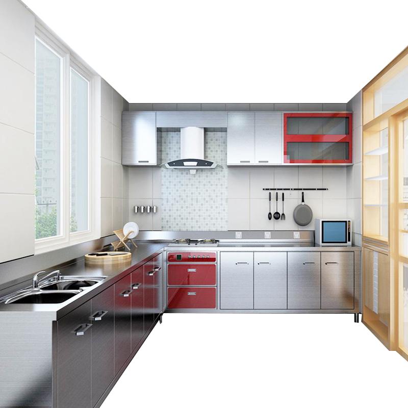 北京不锈钢厨房橱柜定制整体 304钢灶台厨房柜定做台面经济型组装