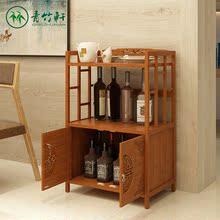 柜子储物柜餐边柜 微波炉架厨房置物架带门落地多层橱柜碗柜楠竹