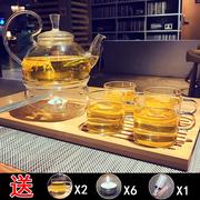 加厚玻璃煮花茶壶 过滤水果耐热泡茶水壶套装 家用蜡烛加热底座