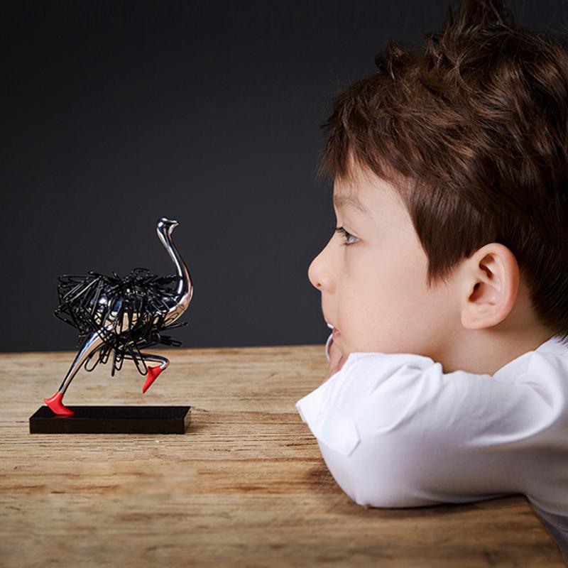 创意礼物回形针收纳器 奔跑的鸵鸟 办公室书桌摆件 Futinct