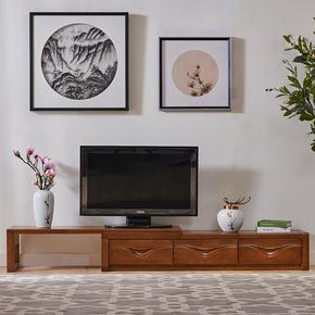 实木电视柜可伸缩现代简约客厅电视桌储物柜中式橡木地柜电视机柜