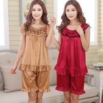 特大码睡衣女士胖mm200斤夏季款冰丝短袖性感两件套装加肥加大裙