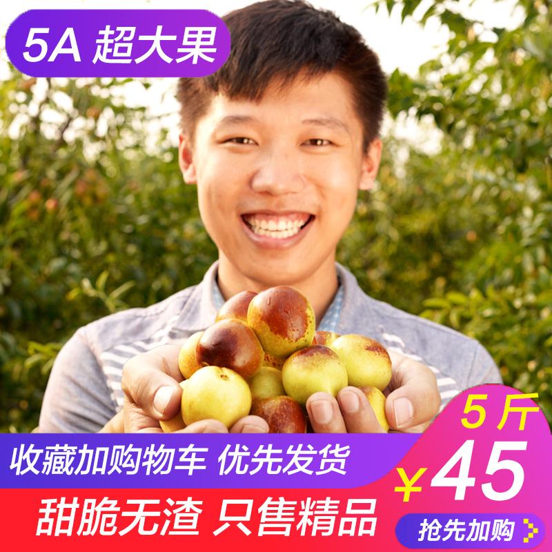 沾化冬枣新鲜5斤包邮枣子枣甜脆青枣水果批发当季山东大枣特大