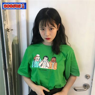 韩国INS超火上衣宽松hiphop嘻哈怪味少女卡通短袖T恤上衣女学生潮